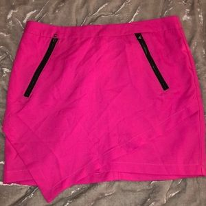 Francesca's Luttons Hot Pink Zipper Mini Skirt